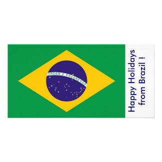 Bandeira de Brasil boas festas de Brasil Cartão Com Foto Personalizado