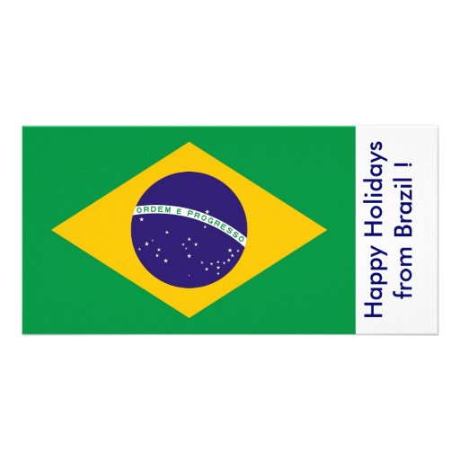 Bandeira de Brasil, boas festas de Brasil Cartão Com Foto Personalizado