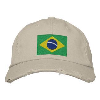 Bandeira de Brasil com texto personalizado Boné Bordado