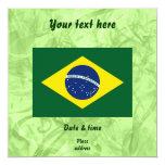 Bandeira de Brasil Convite Quadrado 13.35 X 13.35cm