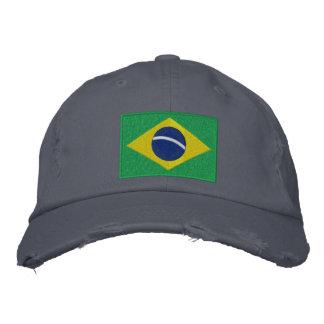 Bandeira de Brasil no verde, no amarelo e no azul Boné Bordado