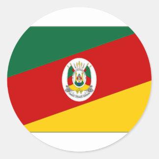 Bandeira de Brasil Rio Grande do Sul Adesivos Redondos