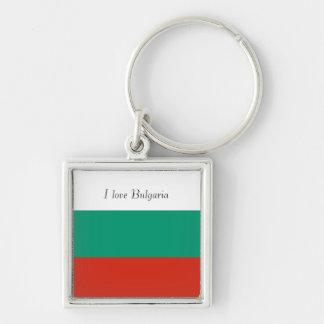Bandeira de Bulgária ou de búlgaro Chaveiro Quadrado Na Cor Prata