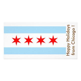 Bandeira de Chicago, boas festas dos EUA Cartao Com Foto