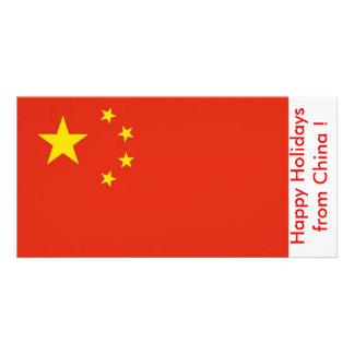 Bandeira de China boas festas de China Cartão Com Fotos