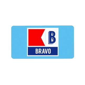 """Bandeira de código náutica B do sinal """"bravo """" Etiqueta De Endereço"""
