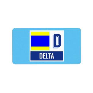 """Bandeira de código náutica D do sinal """"delta """" Etiqueta De Endereço"""
