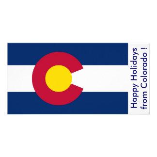 Bandeira de Colorado boas festas dos EUA Cartão Com Foto Personalizado