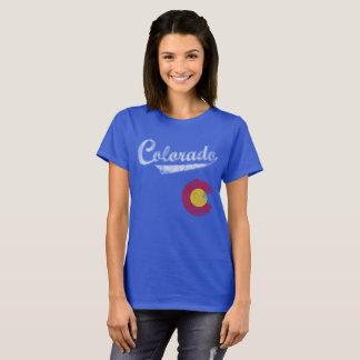 Bandeira de Colorado do estilo do esporte Camiseta