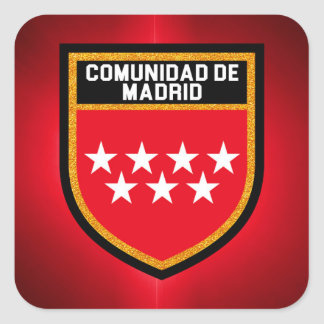 Bandeira de Comunidad de Madrid Adesivo Quadrado