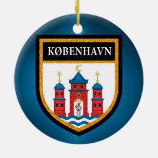 Bandeira de Copenhaga Ornamento De Cerâmica Redondo