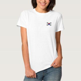 Bandeira de Coreia do Sul Camiseta Polo Bordada Feminina
