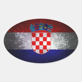 Bandeira de Croatia Adesivo Oval