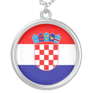 Bandeira de Croatia Colar Com Pendente Redondo