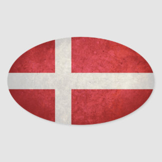 Bandeira de Dinamarca Adesivo Oval
