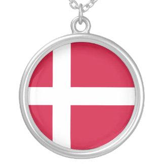 Bandeira de Dinamarca Colar Com Pendente Redondo