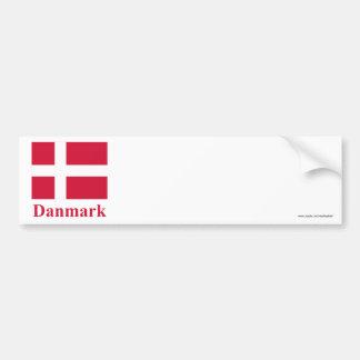 Bandeira de Dinamarca com nome no dinamarquês Adesivo Para Carro