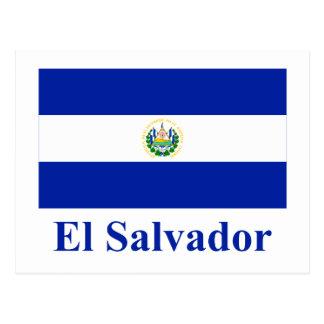 Bandeira de El Salvador com nome Cartão Postal