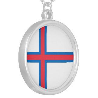 Bandeira de Faroe Island Colar Banhado A Prata