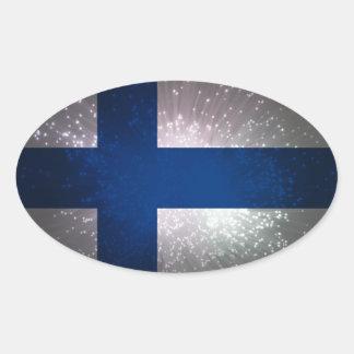 Bandeira de Finlandia Adesivo Oval