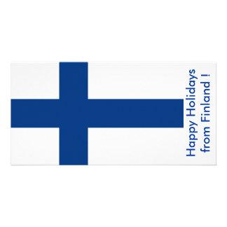 Bandeira de Finlandia boas festas de Finlandia Cartão Com Foto