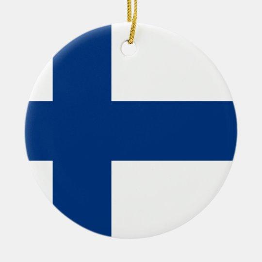 Bandeira de Finlandia (lippu de Suomen, flagga de Ornamento De Cerâmica Redondo
