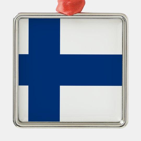 Bandeira de Finlandia (lippu de Suomen, flagga de Ornamento Quadrado Cor Prata