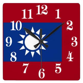 Bandeira de Formosa a República da China Relógio Quadrado