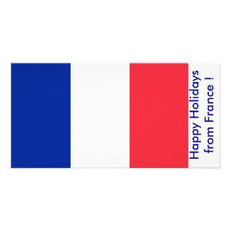 Bandeira de France boas festas de France Cartoes Com Foto Personalizados