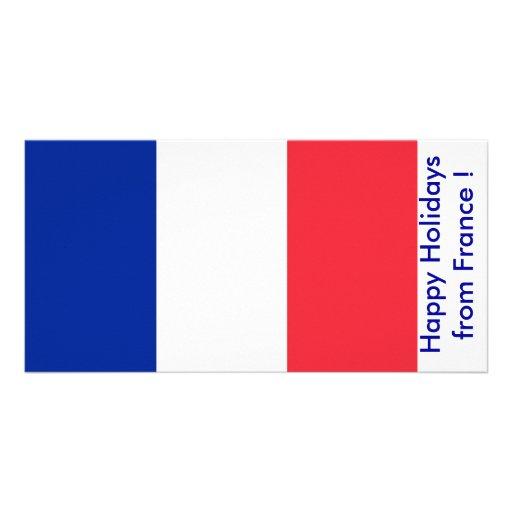 Bandeira de France, boas festas de France Cartoes Com Foto Personalizados