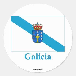 Bandeira de Galiza com nome Adesivos Redondos