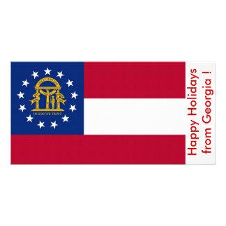 Bandeira de Geórgia, boas festas dos EUA Cartões Com Fotos Personalizados
