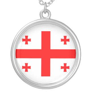 Bandeira de Geórgia Colar Com Pendente Redondo