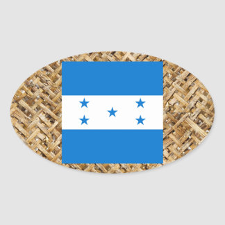 Bandeira de Honduras na matéria têxtil temático Adesivo Oval