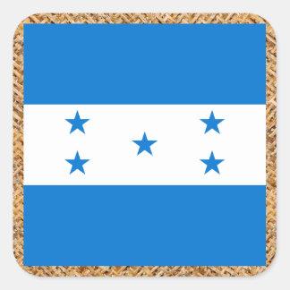 Bandeira de Honduras na matéria têxtil temático Adesivo Quadrado