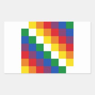 Bandeira de Huipala/Wipala. Qulla andino Suyu. Adesivo Retangular