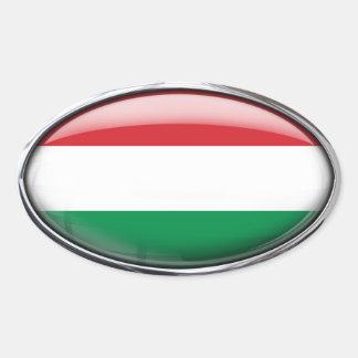 Bandeira de Hungria no Oval de vidro (bloco de 4) Adesivo Oval
