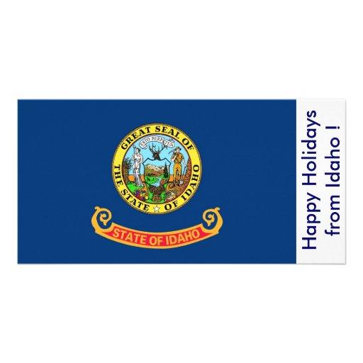 Bandeira de Idaho, boas festas dos EUA Cartão Com Foto Personalizado