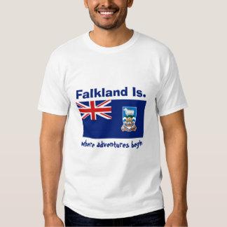 Bandeira de Ilhas Falkland + Mapa + T-shirt do