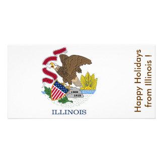 Bandeira de Illinois, boas festas dos EUA Cartão Com Foto