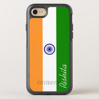 Bandeira de India com monograma Capa Para iPhone 7 OtterBox Symmetry