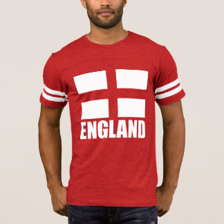 Bandeira de Inglaterra no tecido vermelho Camiseta