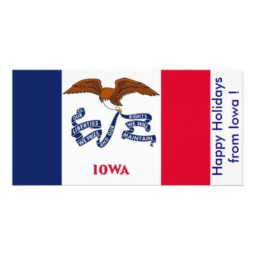 Bandeira de Iowa, boas festas dos EUA Cartoes Com Foto Personalizados