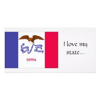 Bandeira de Iowa Cartão Com Fotos Personalizado