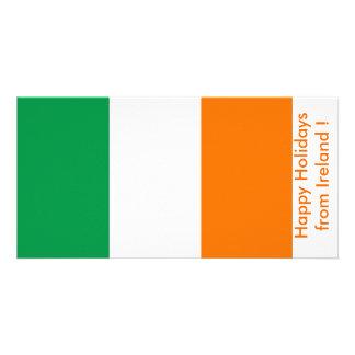 Bandeira de Ireland boas festas de Ireland Cartão Com Foto Personalizado