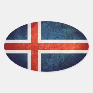 Bandeira de Islândia Adesivo Oval