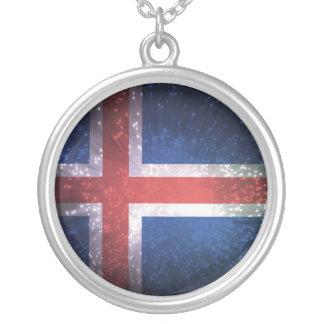 Bandeira de Islândia Colar Com Pendente Redondo
