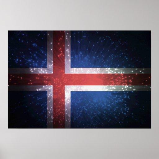 Bandeira de Islândia Poster