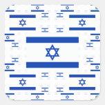 Bandeira de Israel nas camadas coloridas múltiplas Adesivo Em Forma Quadrada