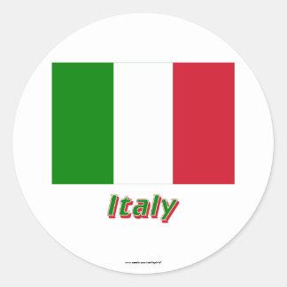 Bandeira de Italia com nome Adesivos Redondos